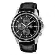 EFR-526L-1a Relogio Casio Edifice Cronografo Aço Pulseira Couro Preto WR100
