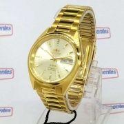 FAB00002C9 Relogio Automático Orient 21 Jewels Pulseira Aço Dourado 37mm