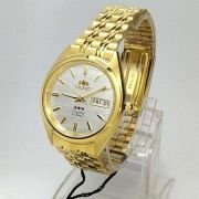FAB00008W9 Relogio Automático Orient 21 Jewels Pulseira Aço Dourado
