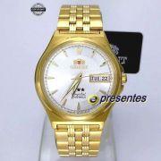 FAB02001W9 Relogio Automático Orient 21 Jewels Pulseira Aço Dourado
