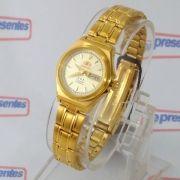 f196d44a2a9e6 Relógio Orient Automatico Feminino Mini Dourado FNQ1S003B9 - E-Presentes