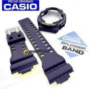 GA-110LN-2A Bezel + Pulseira Casio G-shock Azul Fosco / Amarelo