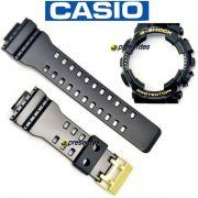 Kit Bezel +  Pulseira Brilhante Fivela Dourada GA-110GB-1A / GD-100GB Casio G-shock