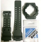 Kit Pulseira + bezel Capa Casio G-shock Verde GD-100ms-3