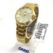 MTP-V300G-9A Relógio Casio Masculino Analógico Aço Dourado