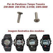 Par Parafusos Tampa traseira Casio G-shock DW-8600, DW-9700, G-9100, GWS-5600