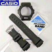 Pulseira + Bezel DW-6900 verde militar fosco Casio G-shock