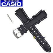 Pulseira Casio Edifice EF-500 Couro Preto -  100% Original