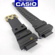 Pulseira Casio G-shock GWX-56GB-1 Resina Preto Fosco Fivela Dourada