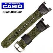 Pulseira Casio Sgw-100B-3V TECIDO NYLON E COURO VERDE - 100% OriginaL