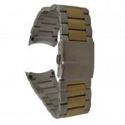 Pulseira De Aço Prata Com Dourado 22mm Náutica 95114-1