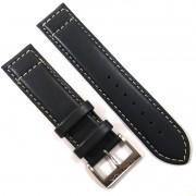 Pulseira De Couro Legítimo Cinza Escuro 22mm Náutica 95089-1