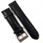Pulseira De Couro Legítimo Estilo Jacaré Preta 22mm Náutica 95012-5