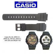 Pulseira Original Casio Resina Preta 23/16mm ARW-31 ARW-32 ARW-33 AW-20 AW-21U AW-305 MQW-100 NL-04