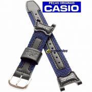 Pulseira PRS-400B-2 Nylon Azul e Couro Preto Casio Pathfinder Fishing Timer  *