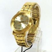 Relógio Automático Orient Dourado FAB05001C9 36mm 3estrelas