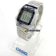 Relógio Casio Digital Vintage Retrô Prateado A178WA-1ADF