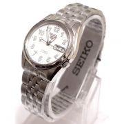 Relógio Masculino Seiko Automatico snk377k1 Aço Inox Fundo Branco