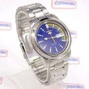 Relógio Masculino Seiko Automatico SNKK27K1 Aço Inox Fundo Azul