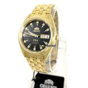 Relogio Orient Automatico Dourado Masculino FAB00001B9 37mm largura