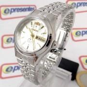 Relógio Orient Automatico Pequeno Mini Feminino Prata/branco FNQ04004w9