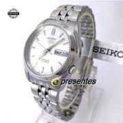 SNK355K1 Relógio Automático Seiko 5 Pulseira Aço Inox 37mm Fundo branco