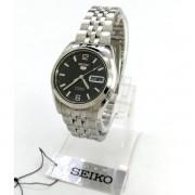 SNK393K1 Relógio Automático Seiko 5 Pulseira Aço Inox 37mm Fundo Preto