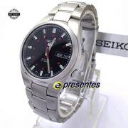 SNK617K1 Relógio Automático Seiko 5 Pulseira Aço Inox 37mm Fundo Preto