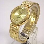 SW85026X Relógio Dumont Feminino Dourado Cristais Swarovski