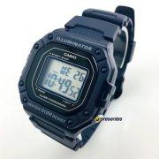 W-218H-2AV Relógio Casio Digital Azul 43mm largura wr50 luz