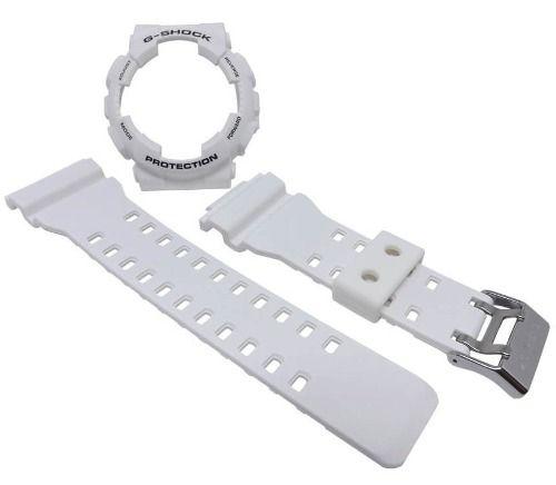 Bezel + Pulseira Casio G-shock Branco Brilhante Ga-100 Ga-110  - E-Presentes