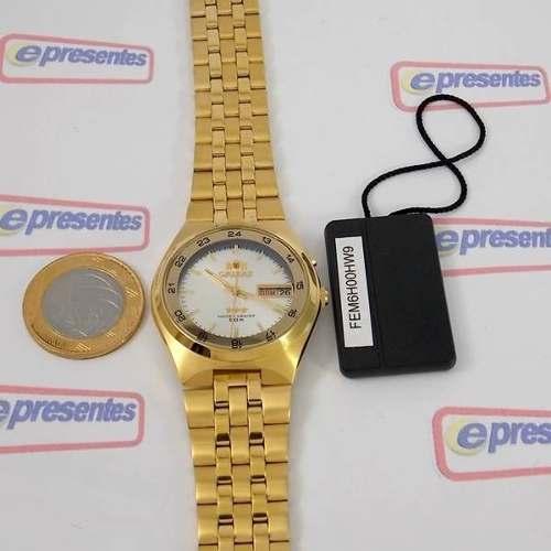 Relógio Orient Masculino Automático Dourado Fem6h00hw9  - E-Presentes