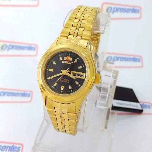 3fe0ae2adc7b7 Relógio Feminino Orient Automatico Dourado Mini Fnq0400bb9 - E-Presentes
