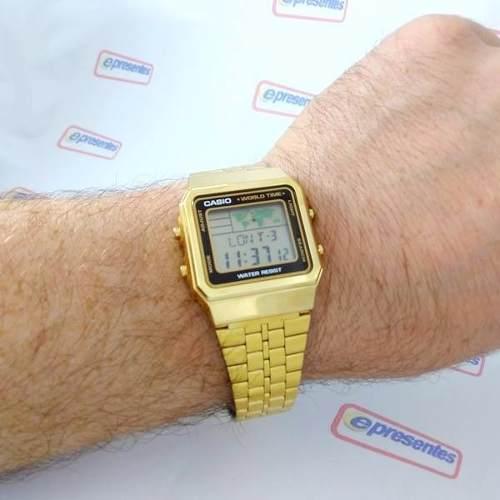 A500wga-1df Relogio Casio Digital Dourado World Time Vintage  - E-Presentes