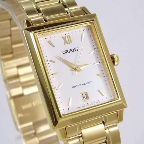Relógio Orient Quartz Dourado Quadrado Unissex 28mm Palha Pequeno  - E-Presentes