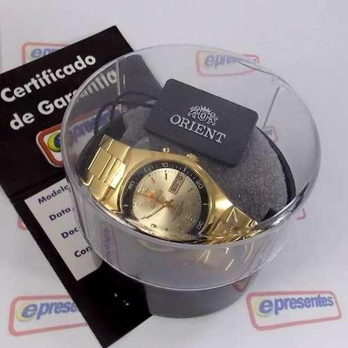 Relógio Masculino Automático Dourado Orient Fem6h00jc9  - E-Presentes