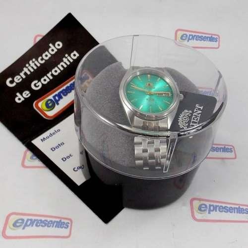 Relogio Automático Orient 21 Jewels Fem0401tf9 Fundo Verde  - E-Presentes