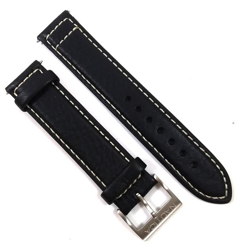 2 pulseiras Nautica 20mm 1couro sintetico azul e 1couro preto  - E-Presentes