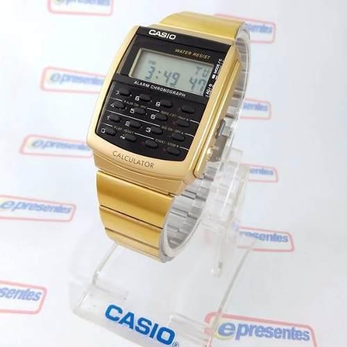 Relógio Casio Retrô Vintage Dourado Calculadora Ca-506g-9adf  - E-Presentes