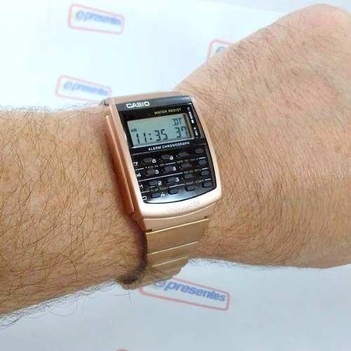 Relógio Casio Retrô Vintage Rosê Calculadora Ca-506c-5adf  - E-Presentes