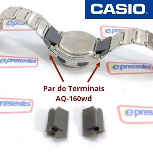 Caixa Relógio Casio + Par Terminais Aq-160wd 100% Original  - E-Presentes