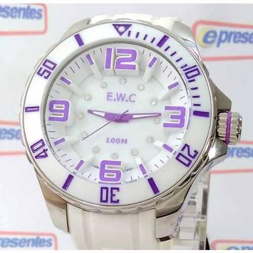 Relógio Feminino Extra Grande E.w.c Branco Lilas 48mm Wr100m  - Alexandre Venturini