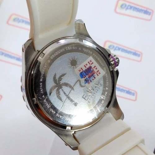Relógio Feminino Extra Grande E.w.c Branco Lilas 48mm Wr100m  - E-Presentes