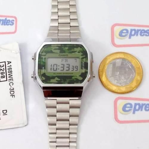 A168wec-3df Relógio Casio Retro Camuflado 100% Original A168  - E-Presentes