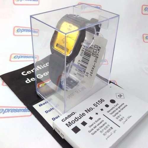Aw-48he 9av Relógio Casio Ana Digi Preto Dourado Autêntico  - E-Presentes