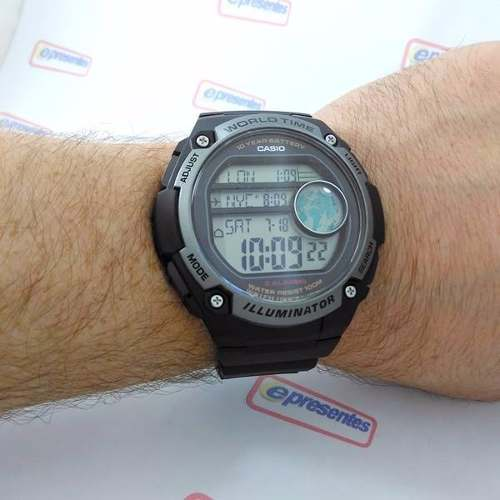 Ae-3000w 1avdf Relogio Casio Digital World Time Grande 55mm - E-Presentes