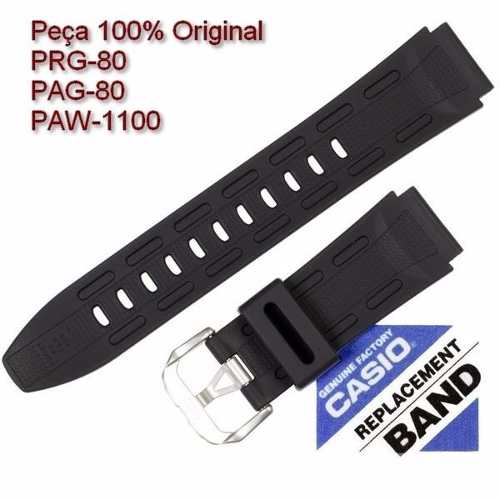 Pulseira Casio Protrek Prg-80 Pag-80 Paw-1100 100% Original (20mm) *  - E-Presentes