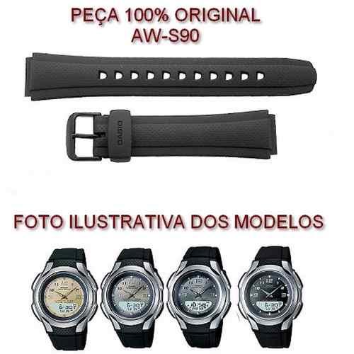 Pulseira Casio 100%original Aw-s90 Resina Preta  - E-Presentes