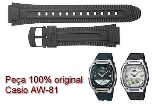Pulseira Casio Resina Preta Aw-81 100% Original / Autêntica  - E-Presentes