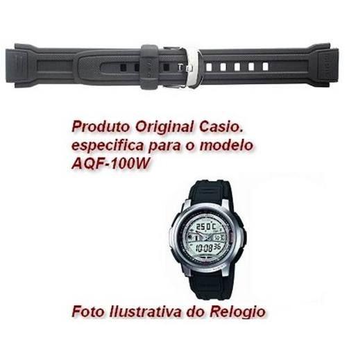 Pulseira Casio Aqf-100w Resina Preta - 100%original Aqf-100  - E-Presentes